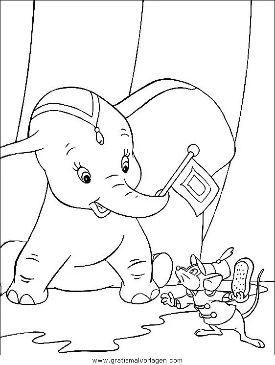 Dumbo 07 gratis Malvorlage in Comic & Trickfilmfiguren