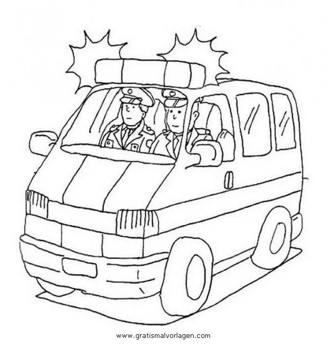 Polizeiauto-1 gratis Malvorlage in Autos Transportmittel