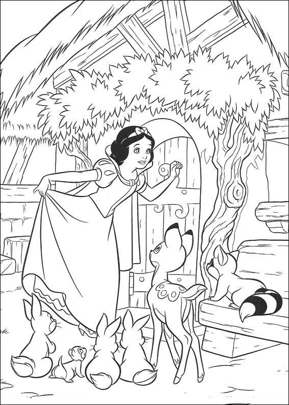Dibujos de Blancanieves y los siete enanitos para colorear e imprimir gratis