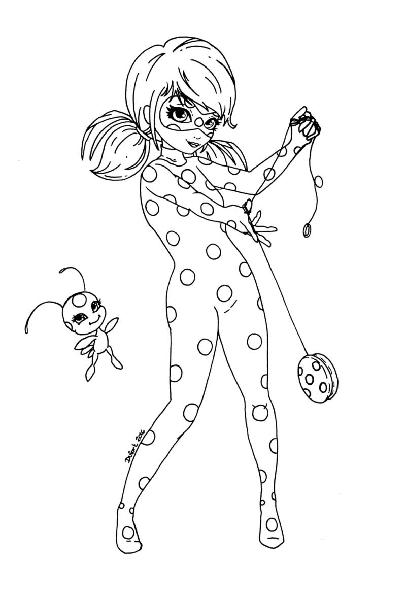 Dibujos de Progigiosa Lady Bug y Cat Noir para colorear e