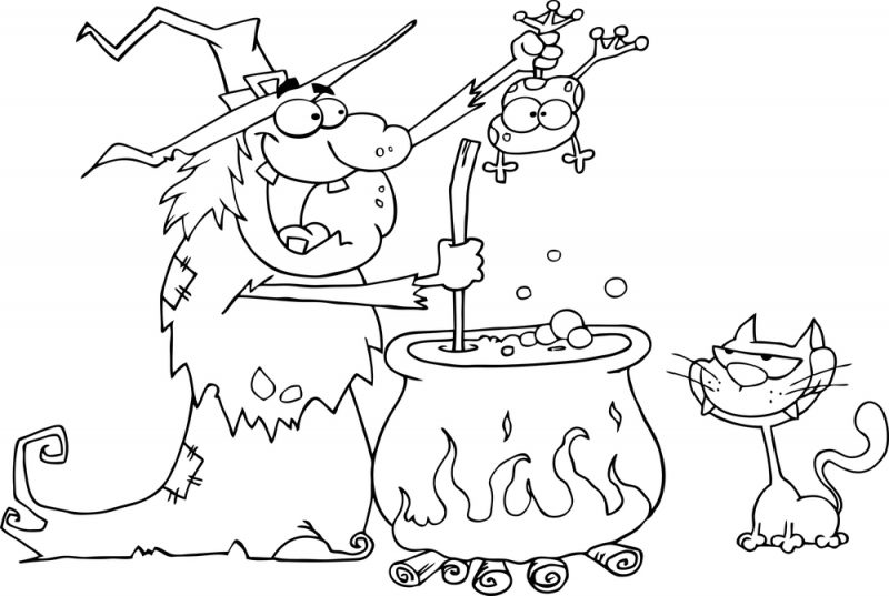 Dibujos de Brujas para colorear, pintar e imprimir gratis