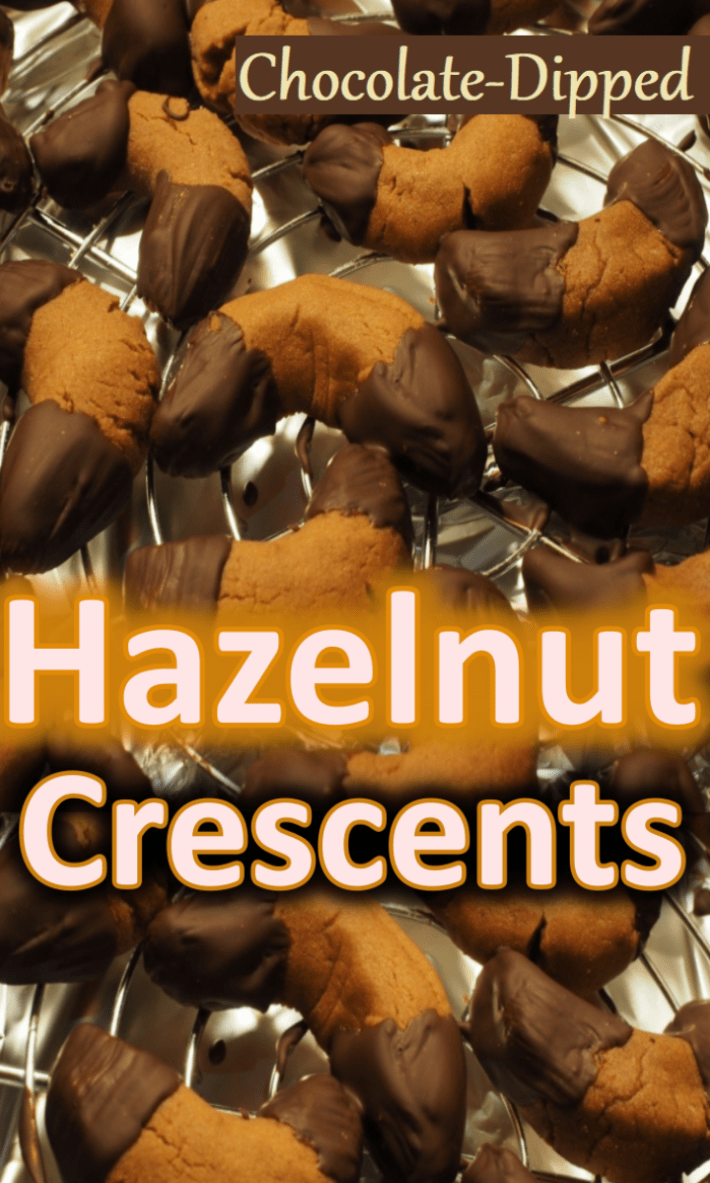 CHOCOLATE DIPPED HAZELNUT CRESCENTS