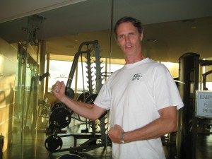 Bob gets ready to work out some of all of that gourmet food at the resort gym