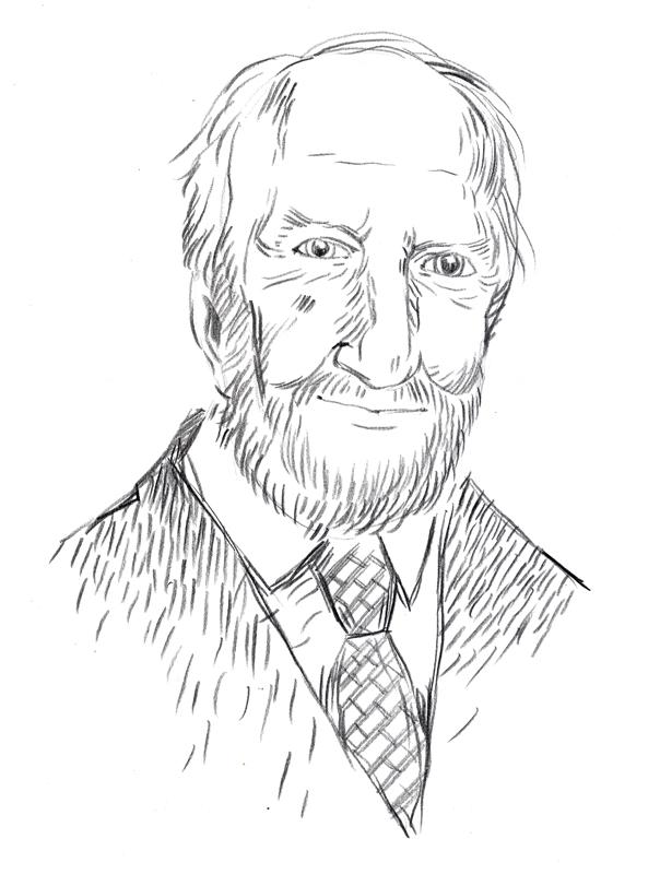 Zeichnung, Portrait von Walter Koschatzky