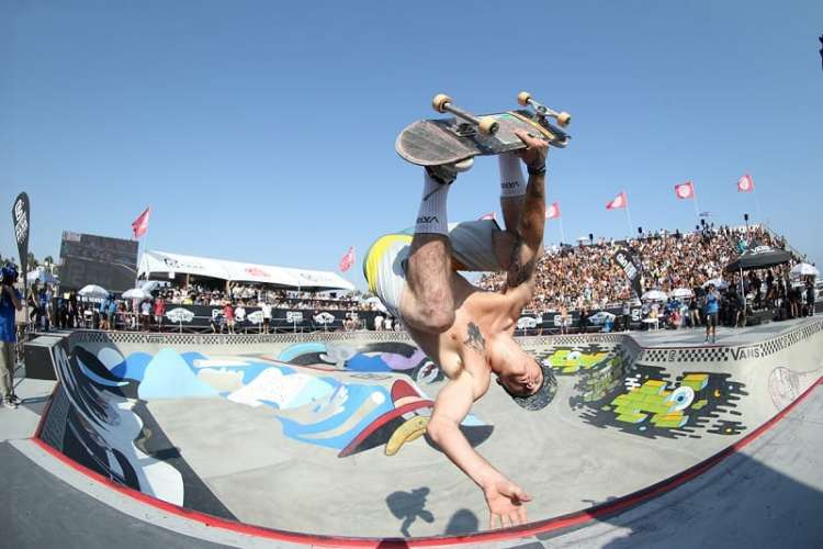 Chris Russell hyped up the crowds with tricks like this. Photo- Anthony Acosta