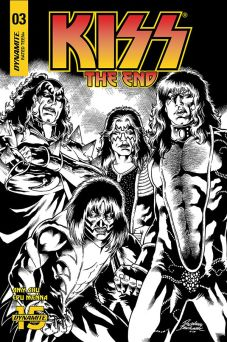 Dynamite Entertainment's KISS: The End issue #3 variant cover C by Rodney Buchemi (black & white)