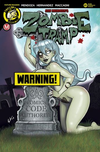 Action Lab Danger Zone's Zombie Tramp issue #61 risque cover F by David Harrigan.