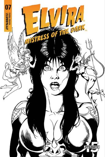 Dynamite Entertainment's Elvira: Mistress of the Dark issue #7 cover E (black & white) by Roberto Castro.