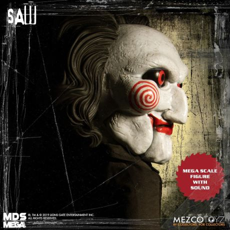 Mezco Toyz MDS Mega Scale Saw Talking Billy doll right side of face.