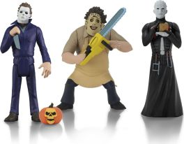 NECA Toys' Toony Terrors series 2 action figures (Leatherface, Michael Myers, and Pinhead).