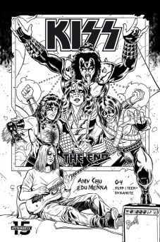 Dynamite Entertainment's KISS: The End Issue #4 Cover C (Black & White) by Brent Schoonover