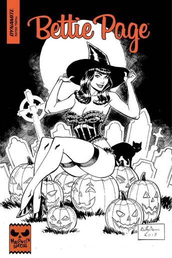 Dynamite Entertainment 2019 Bettie Page Halloween Special one-shot Cover B (Black & White) by Reilly Brown
