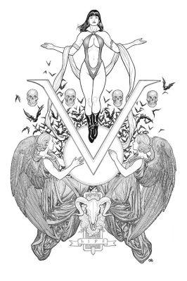Dynamite Entertainment Vengeance of Vampirella Cover B (Black & White, Virgin) by Frank Cho