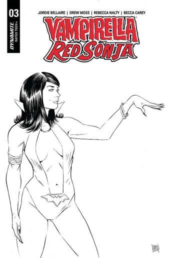 Dynamite Entertainment Vampirella/Red Sonja #3 Cover E (Black & White) by Drew Moss