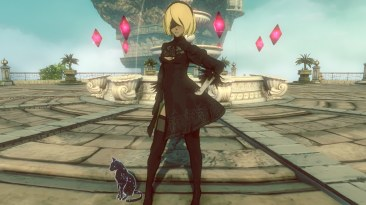 Kat in Gravity Rush 2, wearing her 2B costume (with visor)