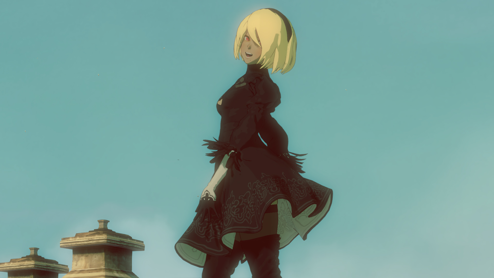 Kat in Gravity Rush 2, wearing her 2B costume (without visor)