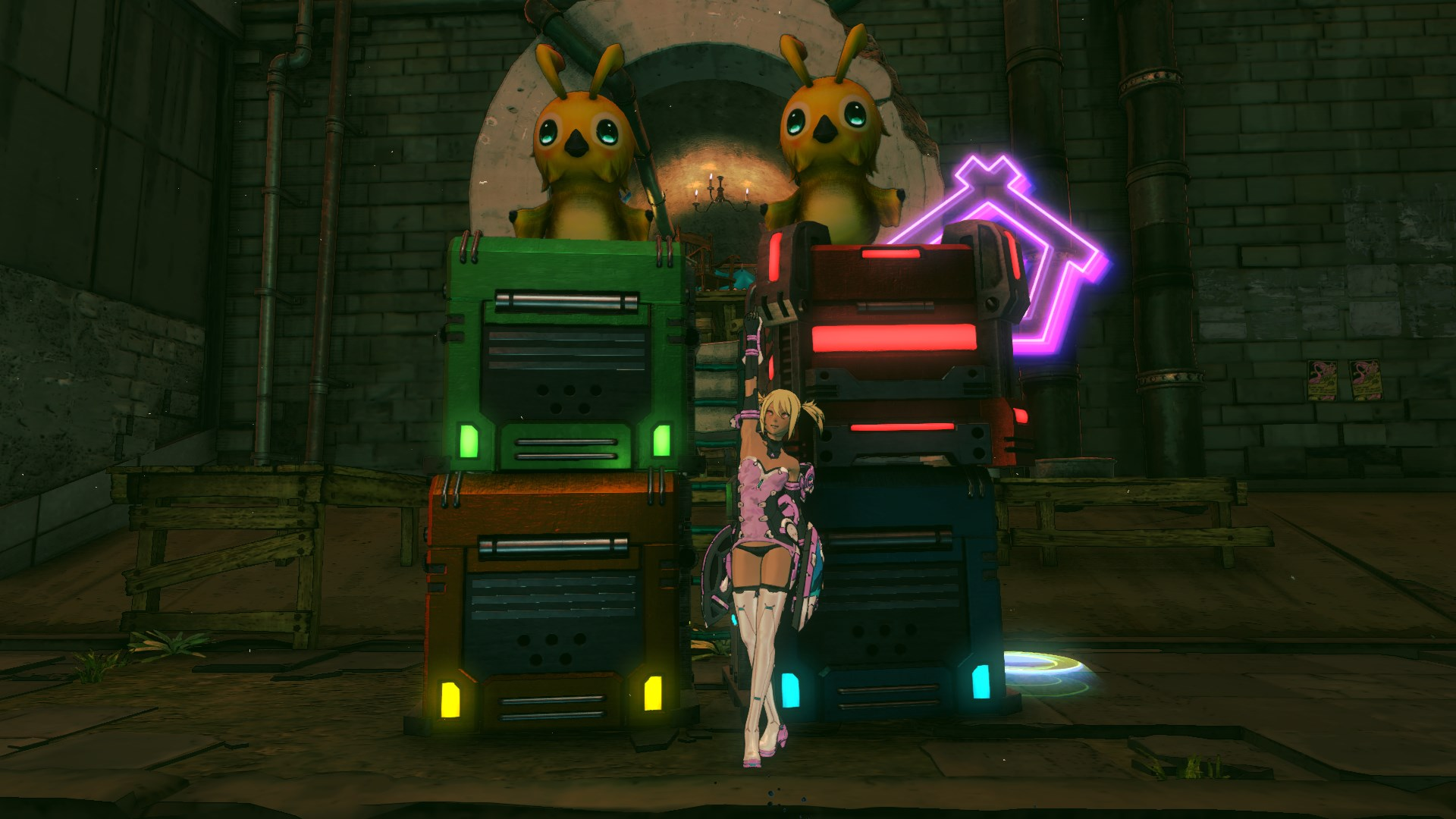 The Crazy Kitten costume and the PSO2 container and Rappy photo items included with the DLC.