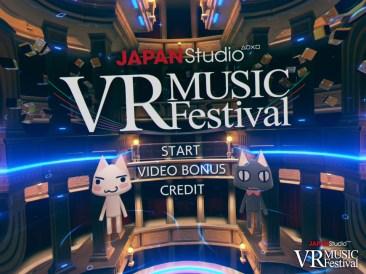 The start menu for the VR Music Festival application.