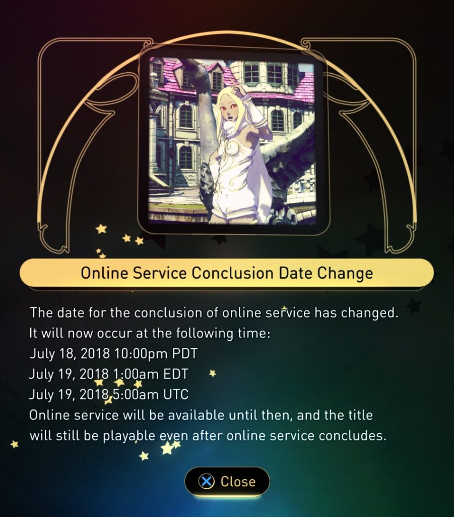 Gravity Rush 2 - Online Service Conclusion Date Change