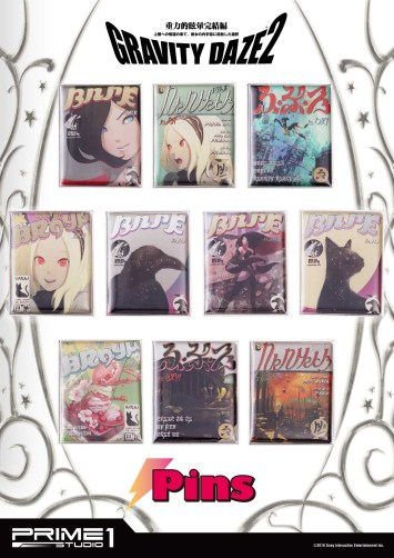 An overview of Prime 1 Studio's Gravity Rush 2 pin set.