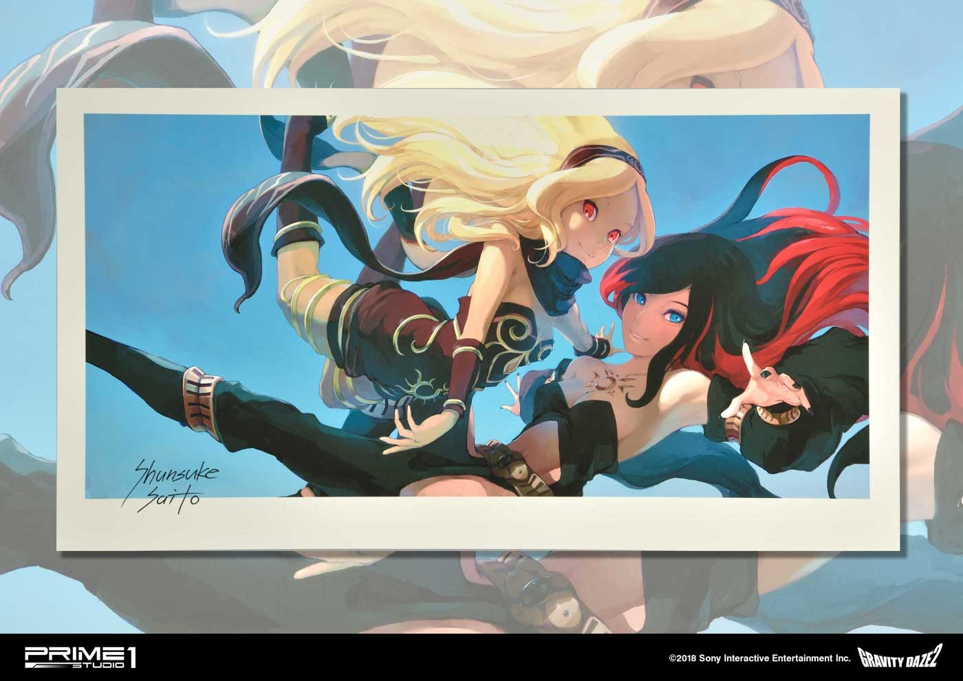 "Prime 1 Studio's The ""Memories of Gravity Daze"" art print, signed by Gravity Rush 2's character designer Shunsuke Saito."