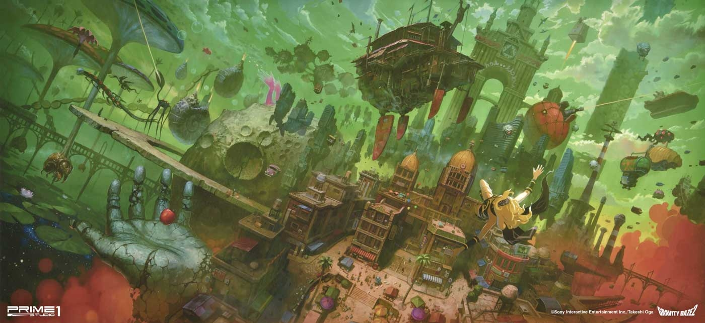 "Prime 1 Studio's The ""Memories of Gravity Daze"" art print, signed by Gravity Rush 2's concept artist Takeshi Oga."