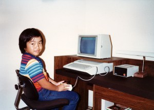 Yours truly, playing Eliminator on our new Apple //e (1984)