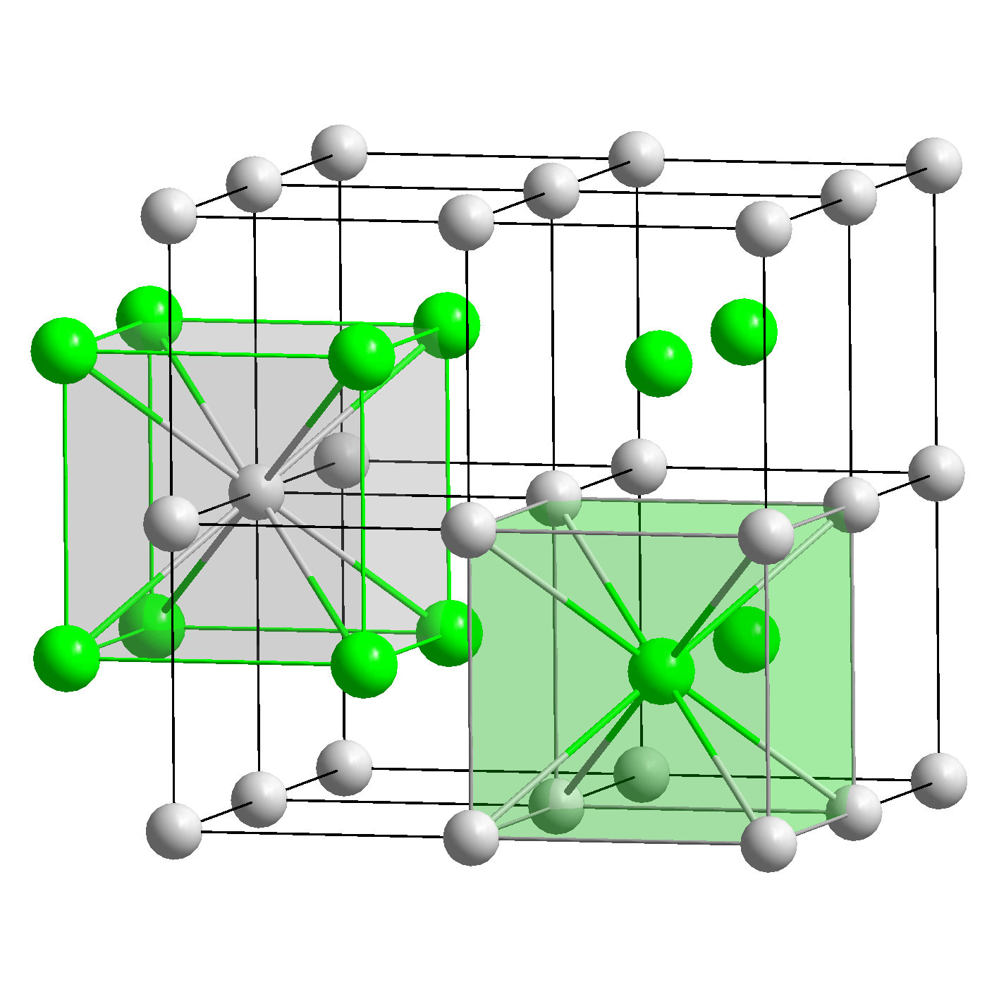 hight resolution of  an ion at each corner of the unit cell box and the other ion in the center of the box if we repeat either unit cell we ll get the crystal structure