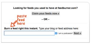Paste your libsyn feed URL here for Feedburner