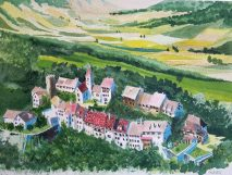 painting of small town