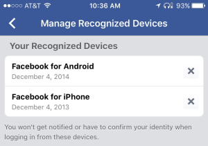 Facebook Recognized Devices