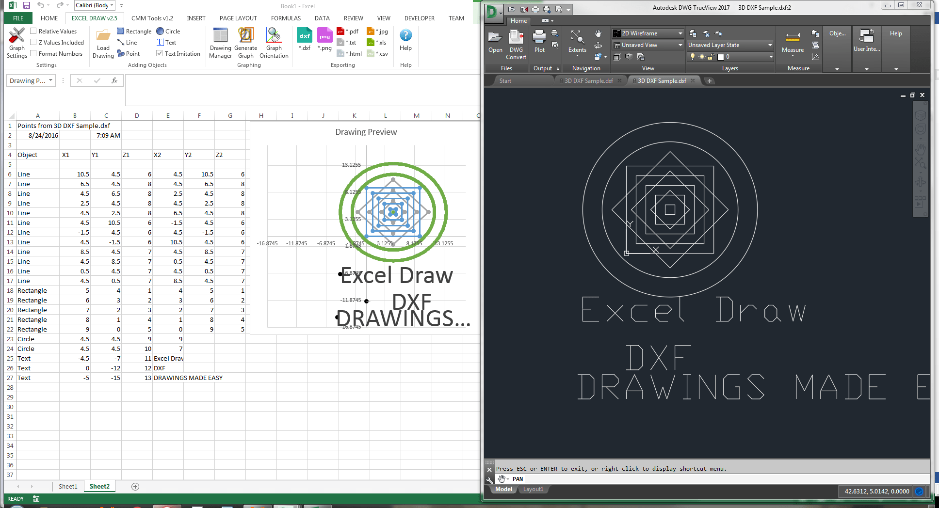 Excel Draw - Create and draw DXF files inside Excel