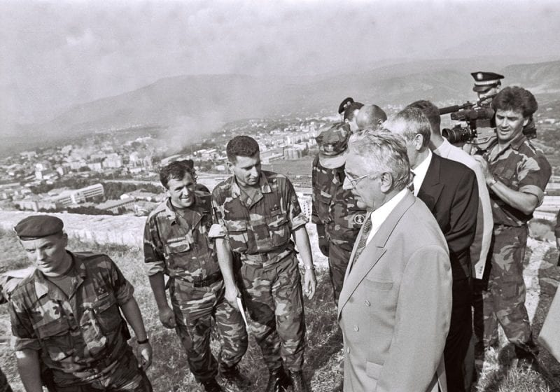 Tudjman visiting Croatian soldiers.