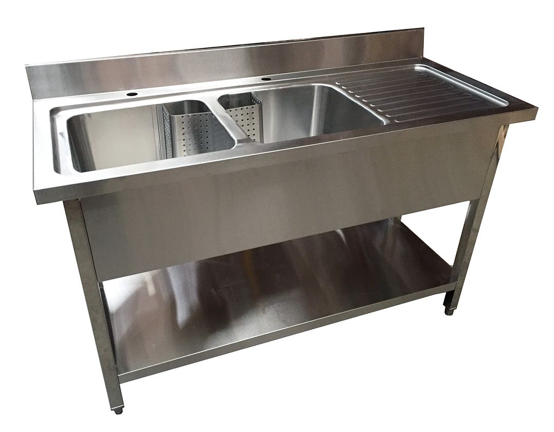 1 4m commercial stainless steel rhd double bowl sink 600 series
