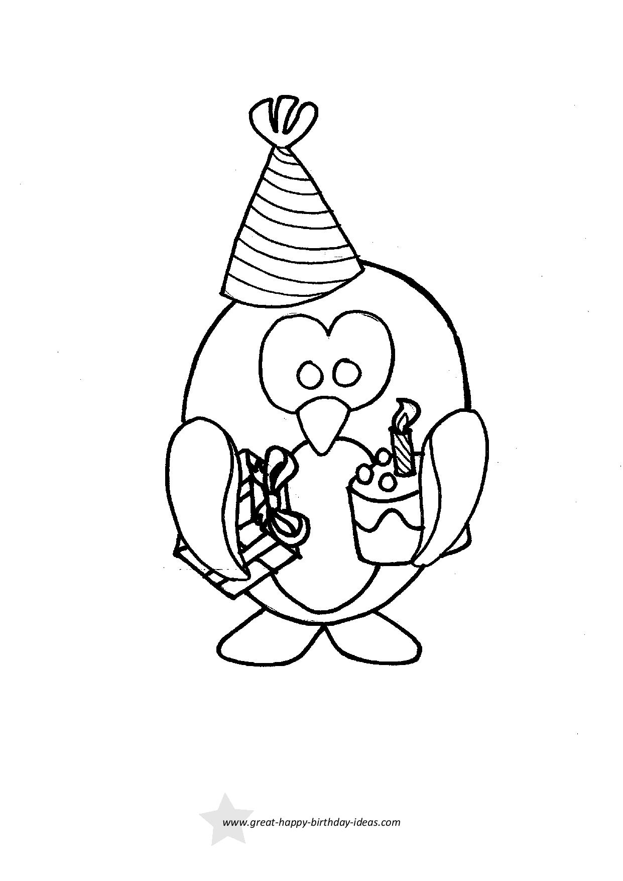 Happy Birthday Penguin Coloring Page