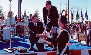 Bill Marriott and Senator John Warner at opening ceremony of Marriott's Great-America, Santa-Clara, CA