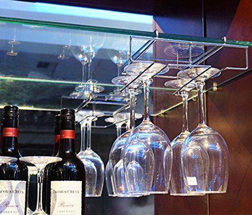 Mkono Under Cabinet Wine Glass Stemware Rack Holder Wire Hanging Rack Under the Shelf Mug Holder
