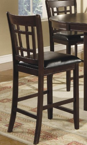 leather pub chair hanging walmart coaster look 2 piece 24 height cappuccino black great bartender