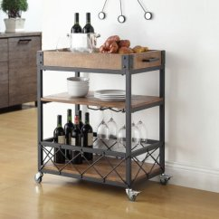 Kitchen Serving Cart Titanium Knives Myra Rustic Mobile Bar Wood And Metal Rolling Great Bartender