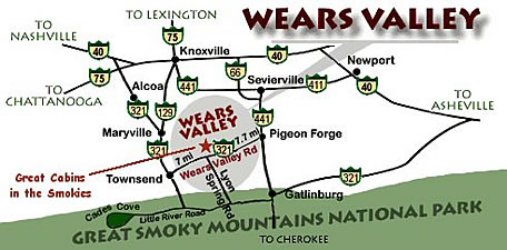Directions to Smokies Cabins  Wears Valley Cabin Rentals
