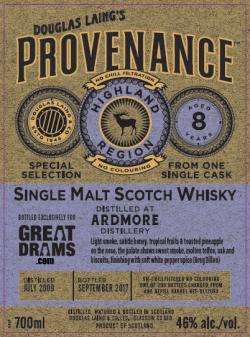 ardmore 8 year old single cask single malt whisky