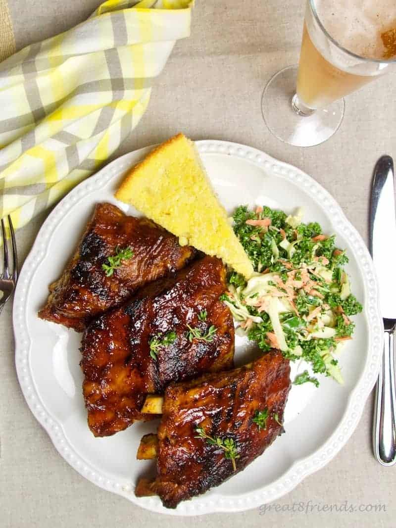 Brined Slow Cooker Barbecued Pork Ribs and cornbread and kale slaw