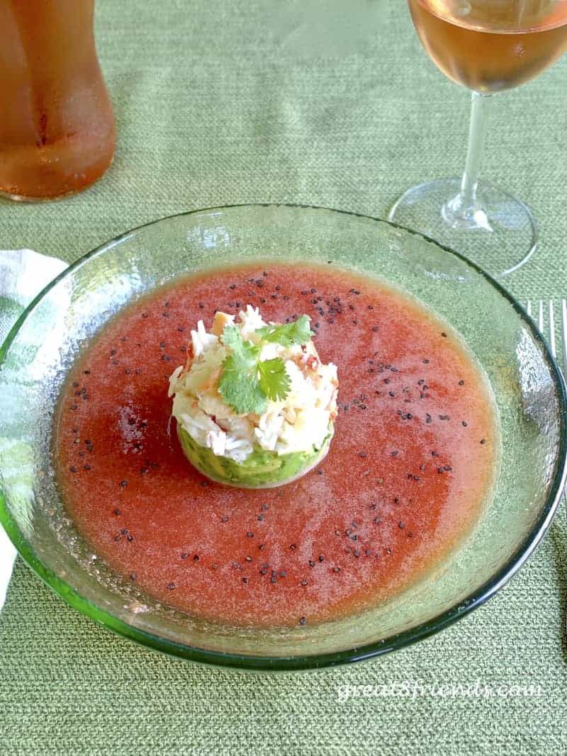 Watermelon Gazpacho with Crab Salad, the ultimate summer soup; delicious, easy and elegant. What could be better? Perfect for company or family.