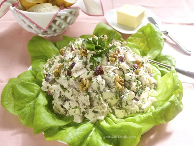 This Chicken Salad is the perfect lunch or light dinner. It is elegant, easy and refreshing. Or it can be casual! The best part, it starts with a store-bought rotisserie chicken!