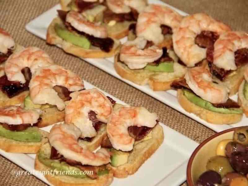 shrimp, candied bacon, avocado crostini