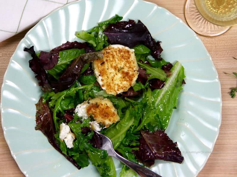 Green Salad with Warm Goat Cheese