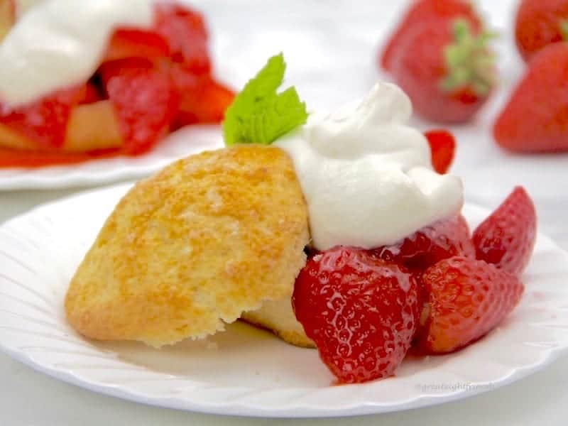 Strawberry Shortcake biscuits and sweet red strawberries with whipped cream make a delicious dessert.