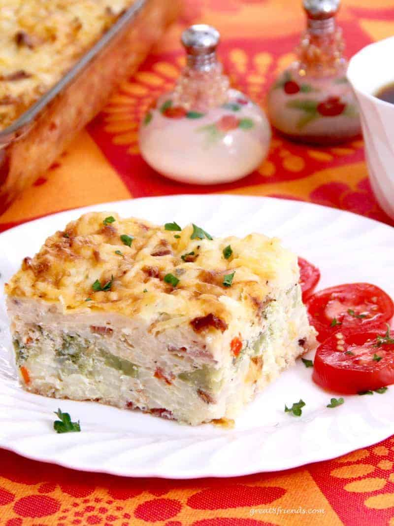 This delicious Egg Casserole is a great make-ahead dish to have ready to easily pop in the oven in the morning or any time of day.