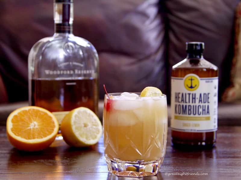 Enjoy this Health-Ade Kombucha Whiskey Sour Cocktail with rye or bourbon. A delicious adult beverage with a kick of health in every sip.