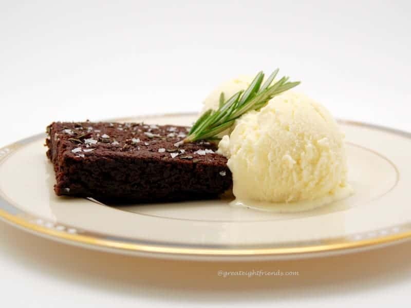 Rosemary Brownies and Rosemary Ice Cream